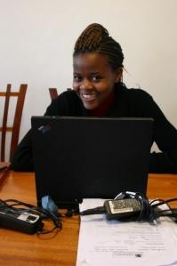 Olivia at work